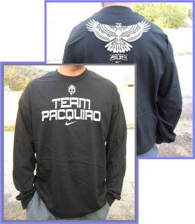 Team Manny Pacquiao Long Sleeves Black T Shirt s 2XL