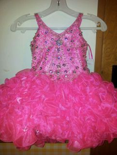 National Pageant Dress Glitz Little Rosie Hot Pink Size 4