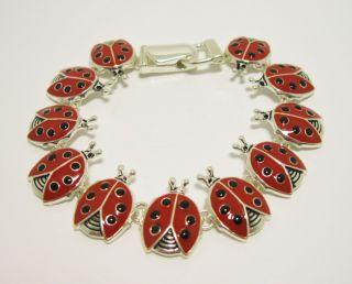Silver Red Black Lady Bug Ladybug Theme Link Magnetic Bracelet