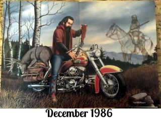 David Mann Centerfold Poster Easy Rider December 1986 Biker Art