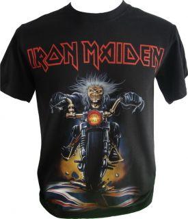 Iron Maiden Eddie motorbike Dont Walk Retro Heavy Rock Music Mens T