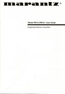 Marantz Original PM 47 57 Amplifier Owners Manual