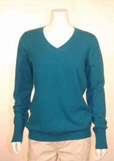 Enzo Mantovani Womens 100 Cashmere Sweater V Neck Dark Turquoise Large