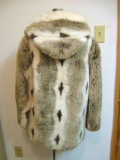 Vtg Hooded Faux Fur Jacket Coat Brown Cream Leather Trim Zip Front s M