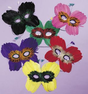 Mardi Gras Feather Butterfly Shaped Masks Lot of 12
