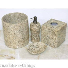 Stone Fossil Marble Bathroom Accessory Set Vanity 4pcs