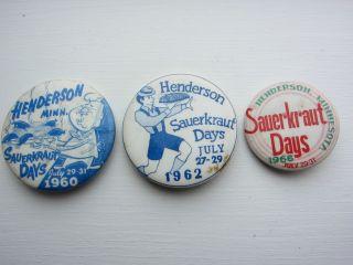 1960's Henderson Minn MN sauerkraut Days Pinback Button