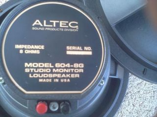 Vintage Altec Speakers Model 17 604 8g Studio Monitors with Crossovers