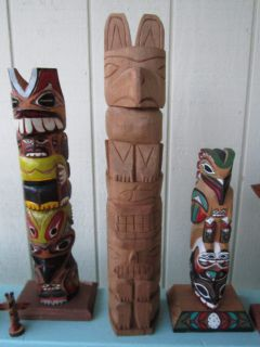 James Johnny SR Totem Pole Native American Indian Canada Vtg Tribal
