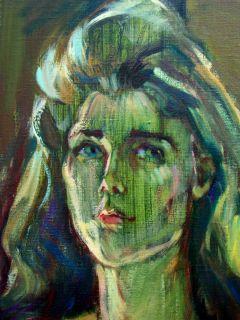 Marianna Edna Volz Oil Painting Original Art 60s Woman Blue Eyed