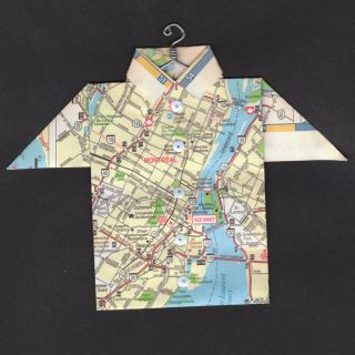 Origami Map Shirt Montreal Olympic Park St Lawrence River