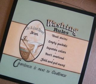 Laundry Room Sign Retro Primitive Washing Rules Decor