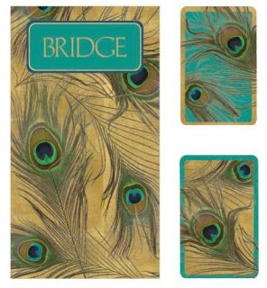 Caspari Peacock Bridge Card Gift Set w 2 Score Pads Playing Cards