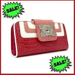 Handbags (Marc Chantal) Pink Genuine Leather Clutch Wallet/FREE