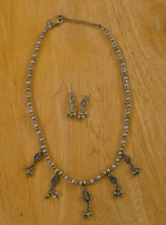 Sarah Coventry Signed Necklace Earring Set Pewter Tone with Blue Stone