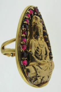 Sajen Bronze by Marianna and Richard Jacobs Berry Quartz Quan Yin Ring