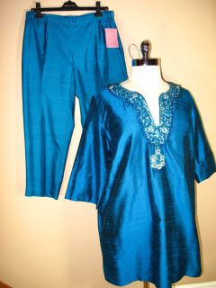 Marina Rinaldi Blue Silk Pants Tunic Set MR21 14 27 20W