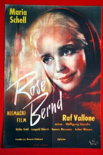 Rose Bernd German Maria Schell 1957 RARE EXYU Movie Poster