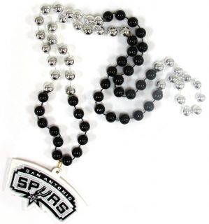 San Antonio Spurs Mardi Gras Beads with Medallion Necklace NBA
