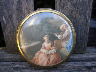 RARE Antique Margaret Rose England Brass Compact Mirror