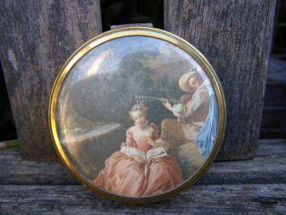 RARE Antique Margaret Rose England Brass Compact Mirror