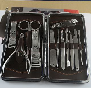 Manicure Set 12pc in 1 Nail Clipper Earpick Grooming Pedicure kit Man