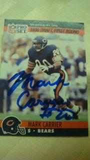 Mark Carrier #674 NFL Pro set Trading card 1990 Football Chicago Bears