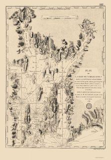 Maps Narragansett Bay Rhode Island RI Nautical Map 1780
