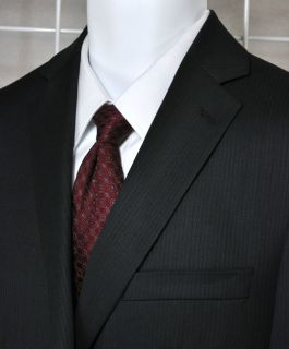 MARC ANTHONY Two Button Suit Wool Black Self Stripe Slim Fit Euc Mens