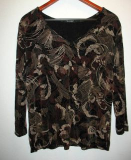 MARC SINGER Softwear V Neck Abstract Print XL 1X Top Browns Blacks