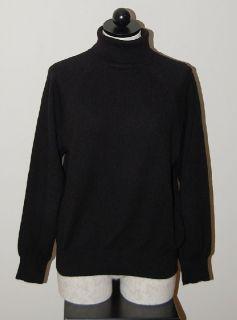 100 Cashmere Womans Black Turtleneck Sweater L
