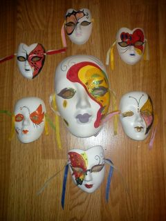 Ceramic Mardi Gras Wall Face Masks Lot of 7