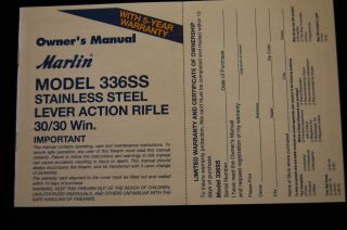 Marlin Model 336SS Lever Action Rifle 30 30 Win Owners Manual 1 02