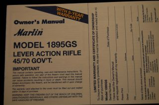 Marlin Model 1895GS Lever Action Rifle 45 70 GovT Owners Manual 2 02
