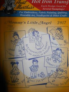 Aunt Martha R3917 Mommys Little Angel Hot Iron Transfer Embroidery