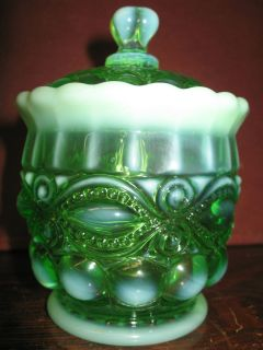 Green Opalescent glass eyewinker pattern Covered Candy dish sugar bowl