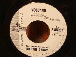45 Martin Denny Volcano 1961 White Label Promo Liberty 55301 VG NM