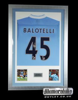 Hand Signed Mario Balotelli Man City Shirt Framed with COA Manchester