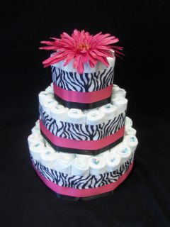 pink zebra Modern 3 tier Diaper Cake baby shower unique gifts