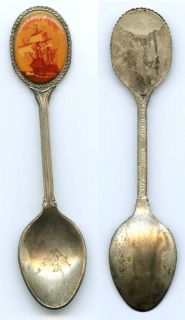 Vintage Mary Rose Silver Plate with Ceramic Inlay Collector Spoon