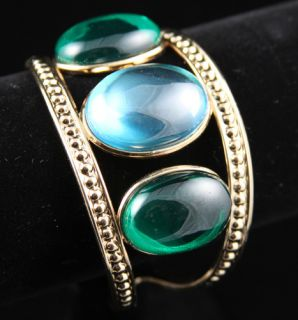 TEMPLE ST CLAIR BIG GT BANGLE HUGE BLUE GREEN CABOCHONS New NR FREE S