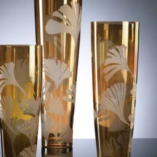 Unique Art Glass Tall Ginko Vases Matching Set of 3