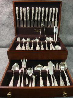 109 s Kirk Son Repousse Sterling Silver Silverware Set