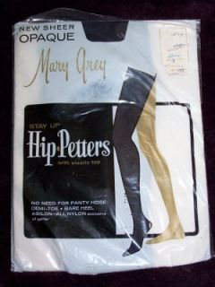 Mary Grey Nylon Thigh High Stockings Opaque Navy Blue HIP PETERS