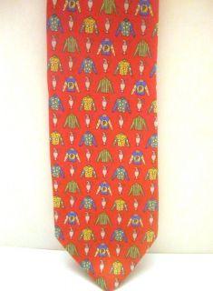 SILK NOVELTY RED, GREEN, BLUE, YELLOW JOCKEY necktie Neck Tie New