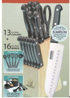Masterchef Stainless Steel 29 Pc Knife / Kitchen Set with Wood Block