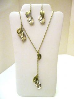 SEVENTH LIFE LEAVES NECKLACE AND EARRING SET GOLD SILVER NEW GORGEOUS