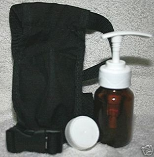 Massage Belt Holster and Pump Bottle with Cap Lid