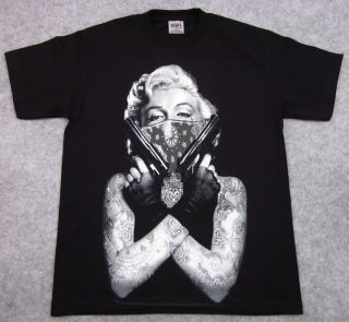 Marilyn Monroe T Shirt Tattoo Bandit Tee Guns Bandana Adult M L XL 2XL
