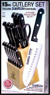 Masterchef 15pc 7 Santoku Knife Wooden Block Steak Cutlery Set NEW